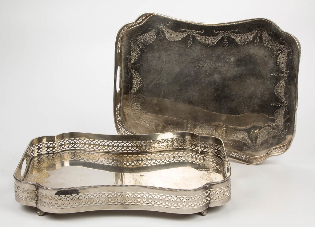 TOWLE SILVER-PLATED SERVING TRAYS, PAIR