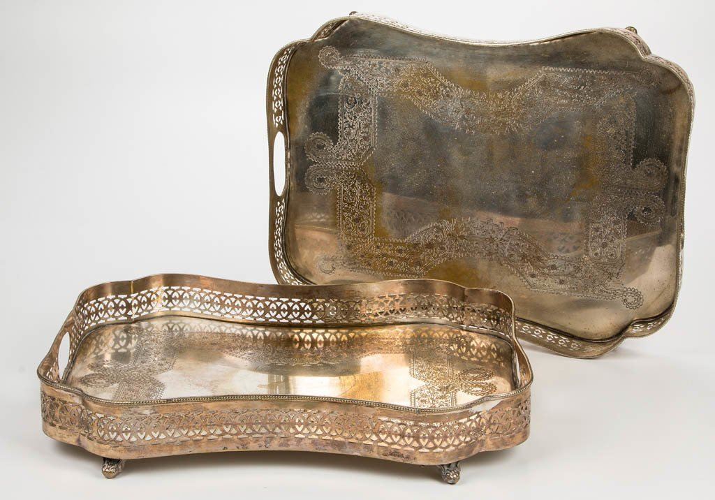 SILVER-PLATED SERVING TRAYS, PAIR