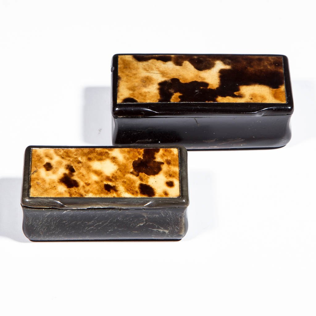 SHELL INLAY SNUFF BOXES, LOT OF TWO