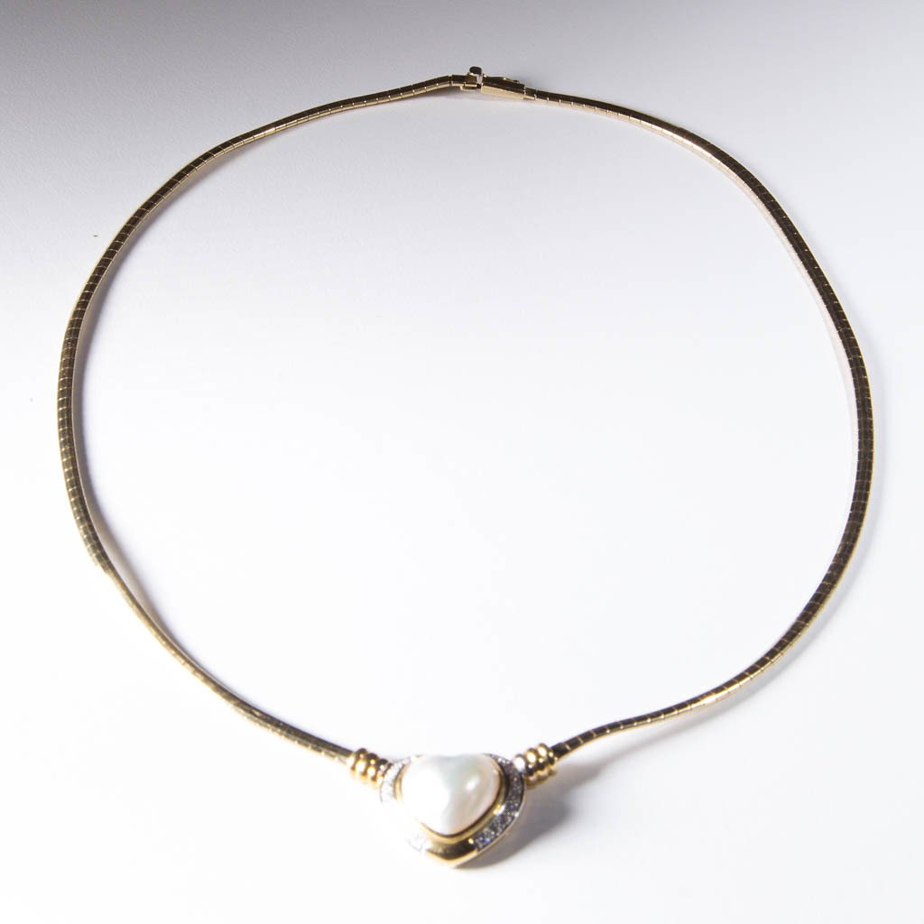 VINTAGE LADY'S GOLD AND MABE PEARL NECKLACE - 2