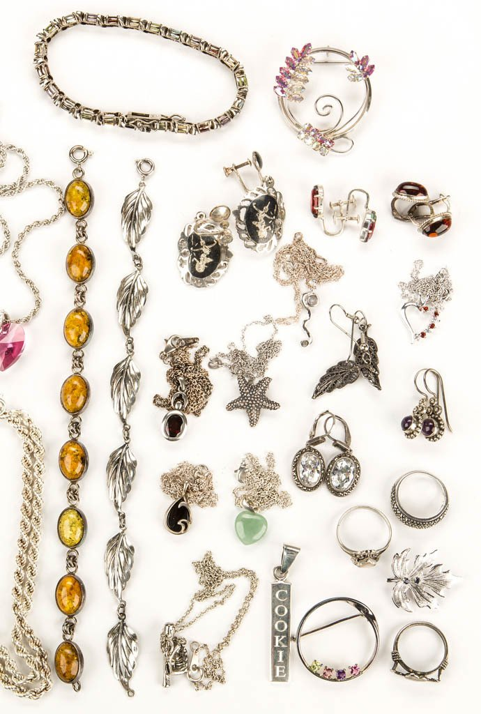 ASSORTED STERLING SILVER JEWELRY - 3