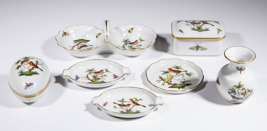 HUNGARIAN HEREND ROTHSCHILD BIRDS PORCELAIN ARTICLES,