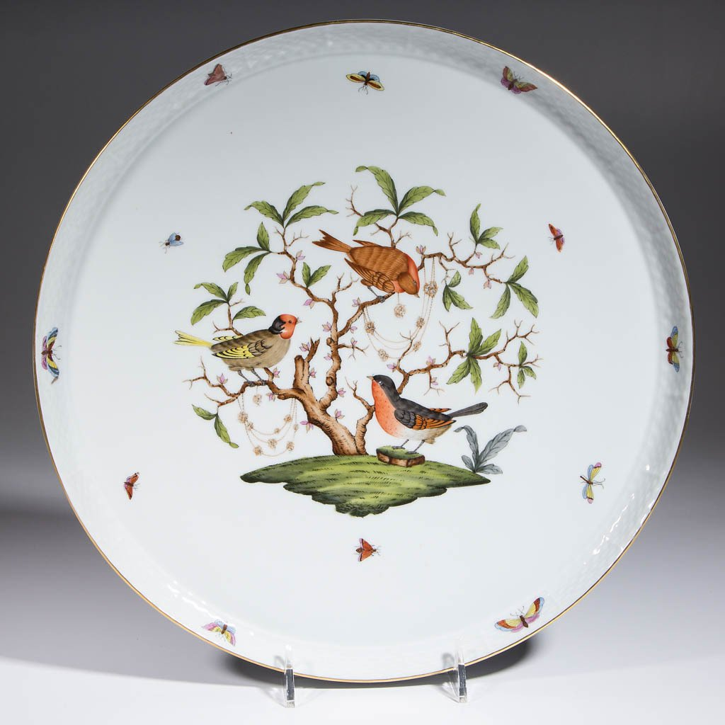 HUNGARIAN HEREND ROTHSCHILD BIRDS PORCELAIN LARGE ROUND