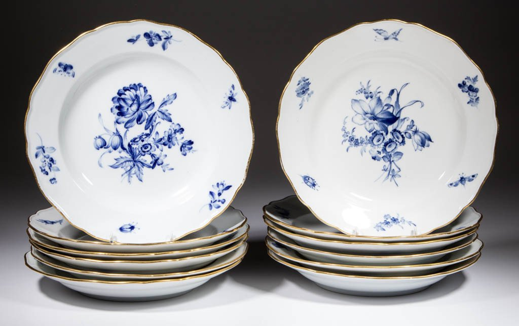 GERMAN MEISSEN FLOWERS AND INSECTS PORCELAIN PLATES,