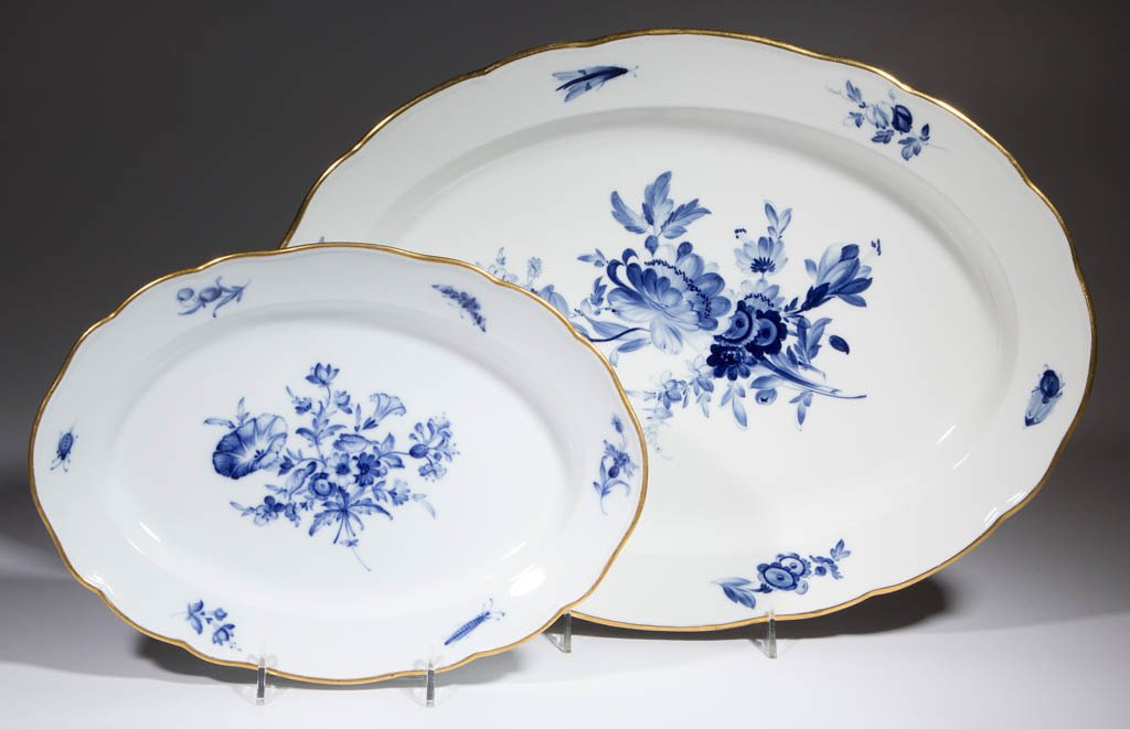 GERMAN MEISSEN FLOWERS AND INSECTS PORCELAIN PLATTERS,
