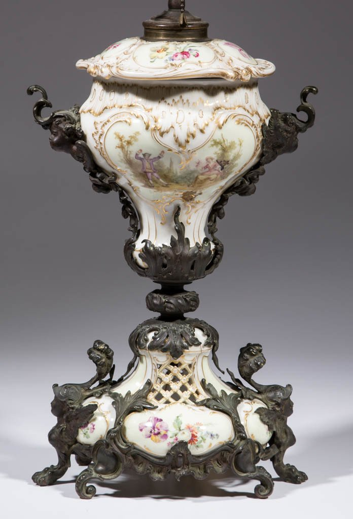 GERMAN KPM MOUNTED PORCELAIN LAMP