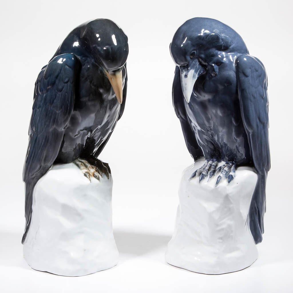 GERMAN KARL ENS RAVEN PORCELAIN BIRD FIGURES, LOT OF
