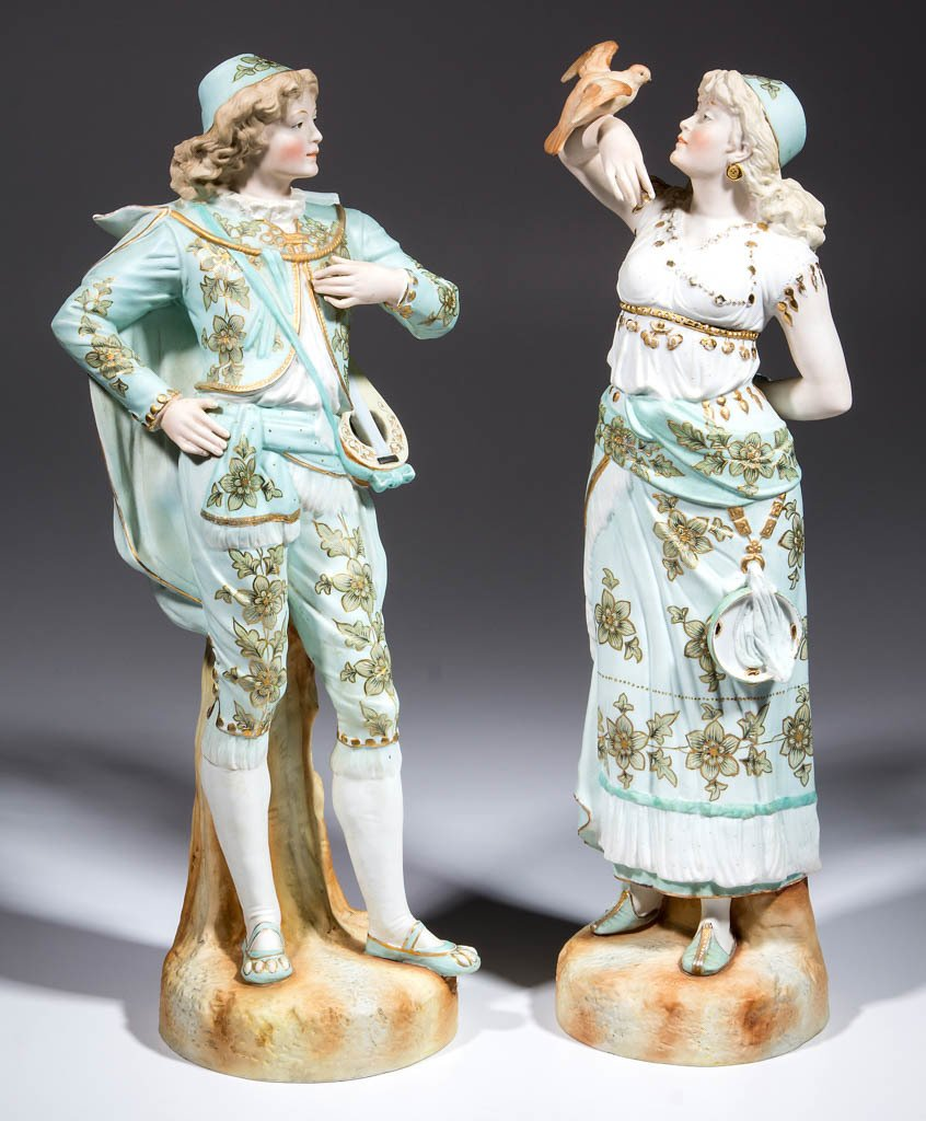 GERMAN LARGE BISQUE GYPSY CERAMIC FIGURES, LOT OF TWO