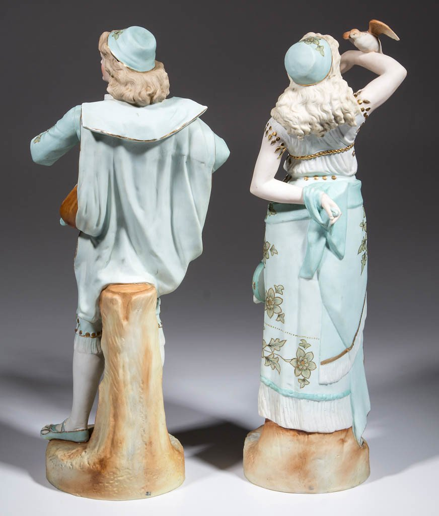 GERMAN LARGE BISQUE GYPSY CERAMIC FIGURES, LOT OF TWO - 2