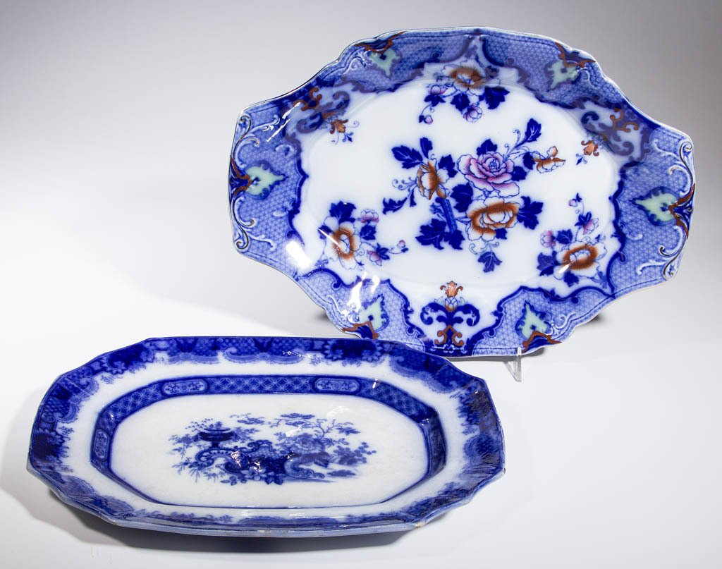 ENGLISH FLOW BLUE CERAMIC PLATTERS, LOT OF TWO