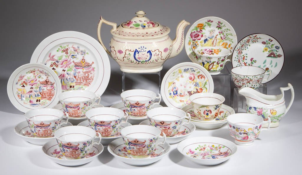 ENGLISH TRANSFER-PRINTED BONE CHINA ARTICLES, LOT OF 27