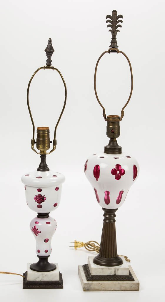 ASSORTED CUT OVERLAY TABLE LAMPS, LOT OF TWO