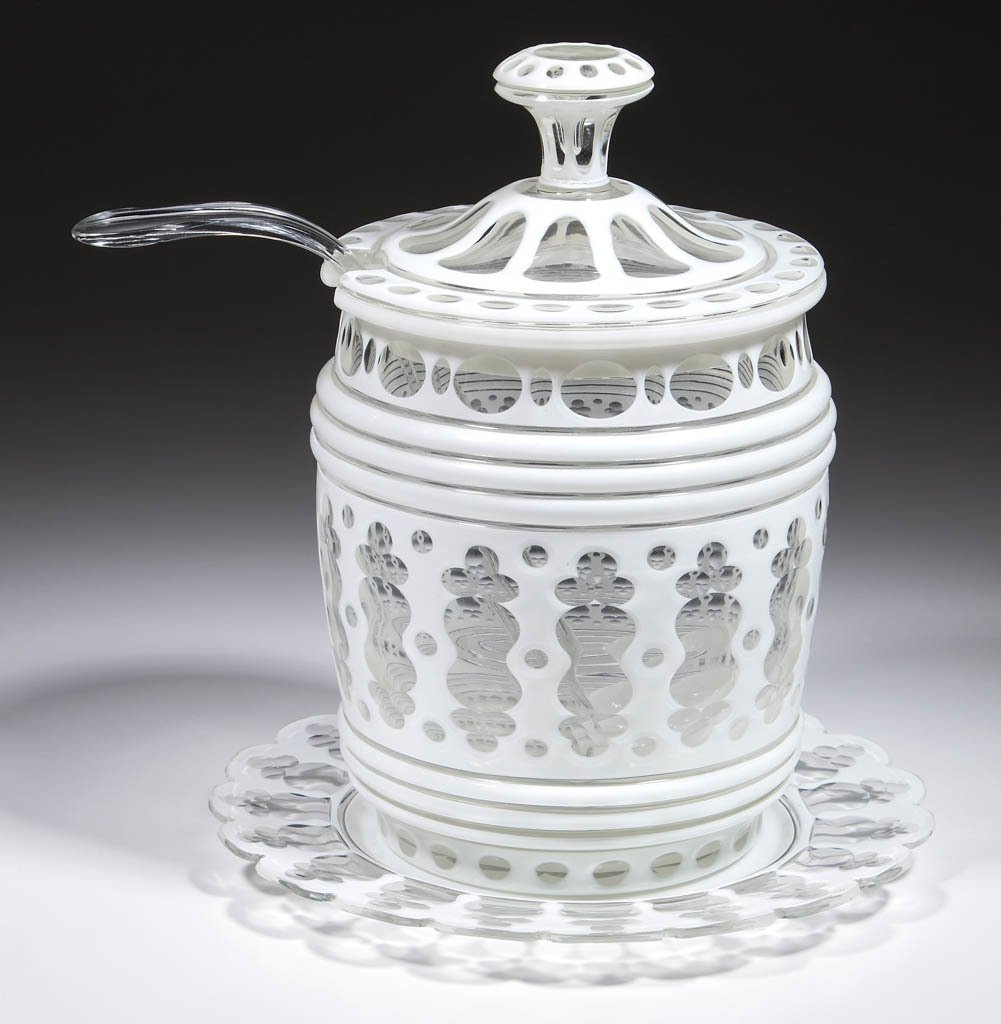 EUROPEAN CUT OVERLAY PUNCH BOWL WITH LADLE AND