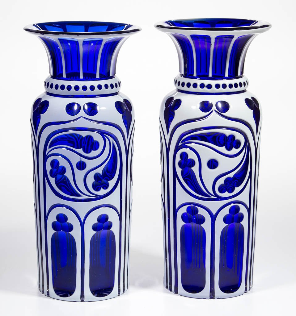 EUROPEAN CUT DOUBLE OVERLAY PAIR OF VASES
