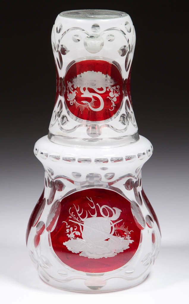 BOHEMIAN CUT OVERLAY AND ENGRAVED -RUBY-STAINED