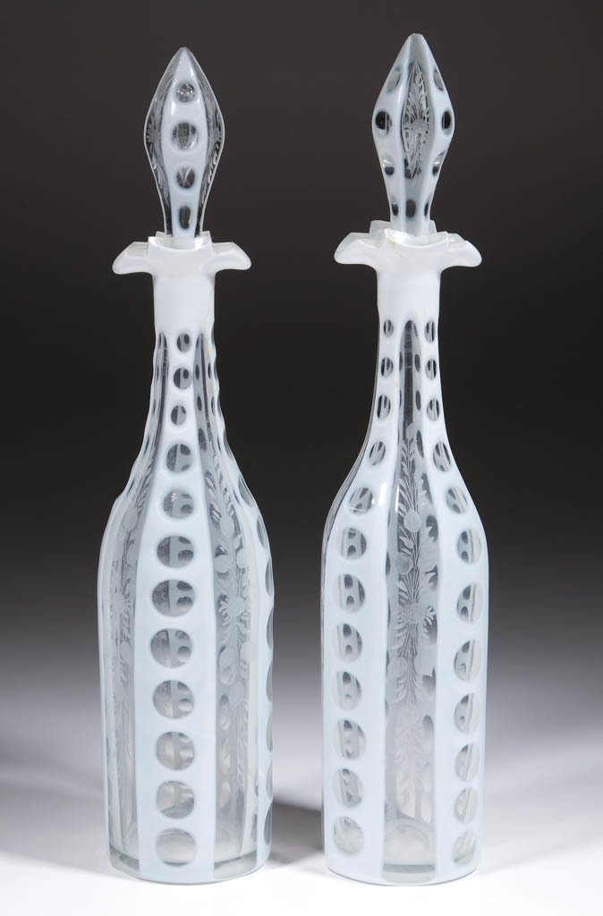 CUT OVERLAY AND ENGRAVED PAIR OF DECANTERS
