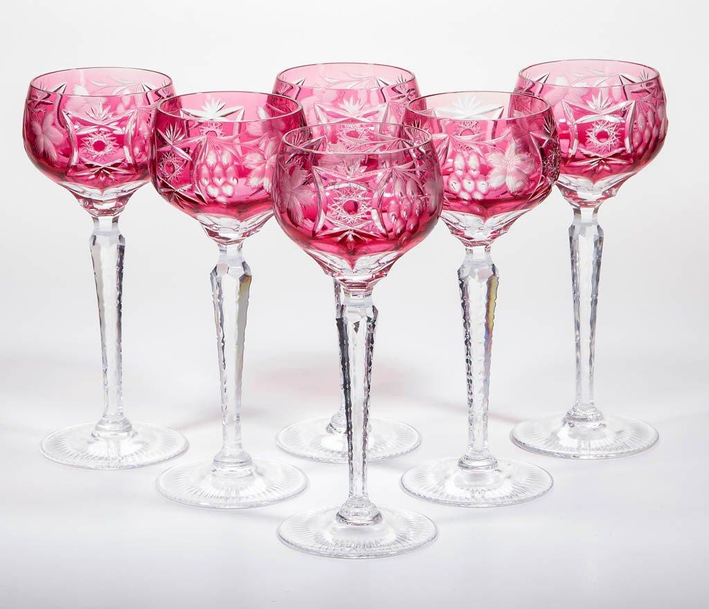CUT OVERLAY WINE GLASSES, SET OF SIX