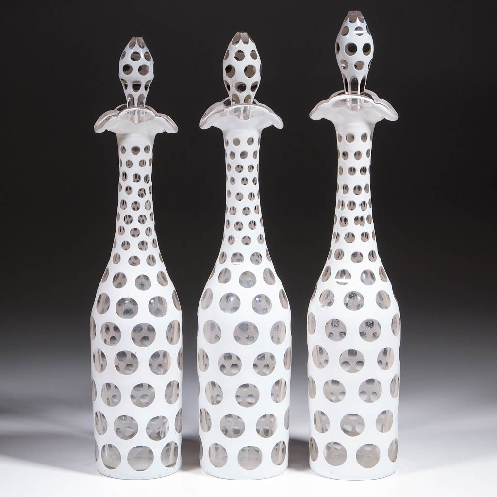 CUT OVERLAY PUNTY DECANTERS, LOT OF THREE