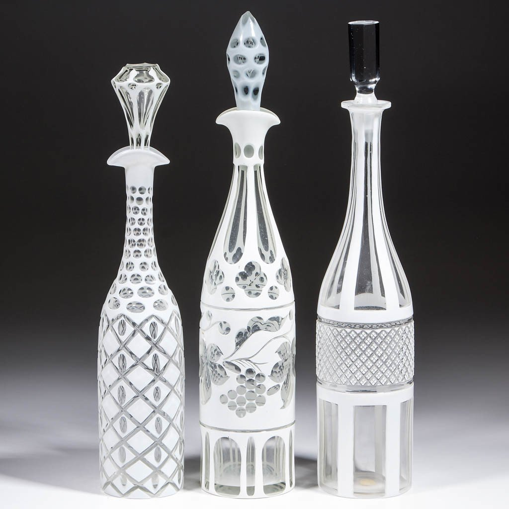 CUT OVERLAY DECANTERS, LOT OF THREE