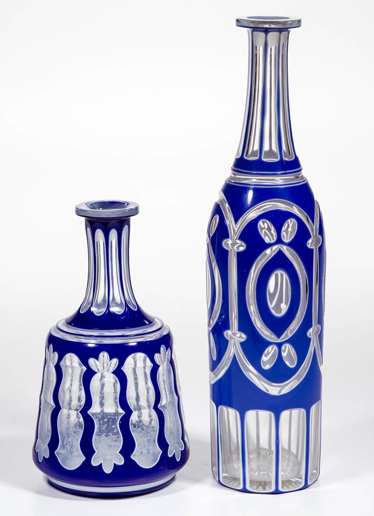 CUT DOUBLE OVERLAY DECANTERS, LOT OF TWO