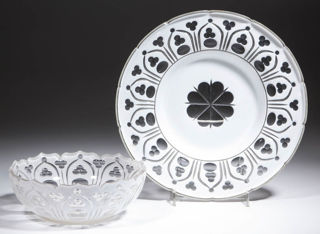 EUROPEAN CUT OVERLAY BOWL AND UNDERPLATE