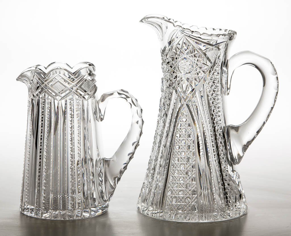 AMERICAN BRILLIANT CUT GLASS PITCHERS, LOT OF TWO