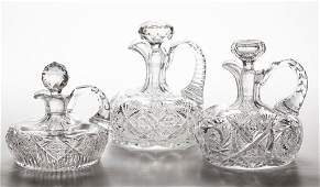 AMERICAN BRILLIANT CUT GLASS SHIP'S DECANTERS, LOT OF