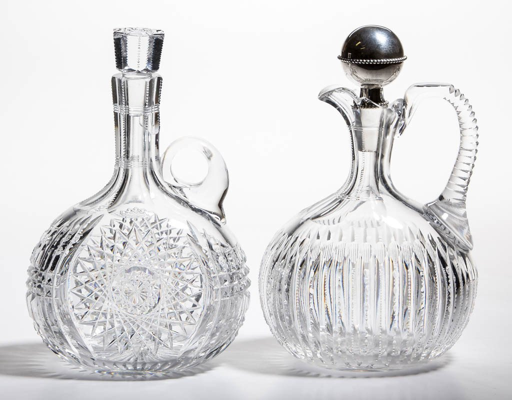 AMERICAN BRILLIANT CUT GLASS DECANTERS, LOT OF TWO