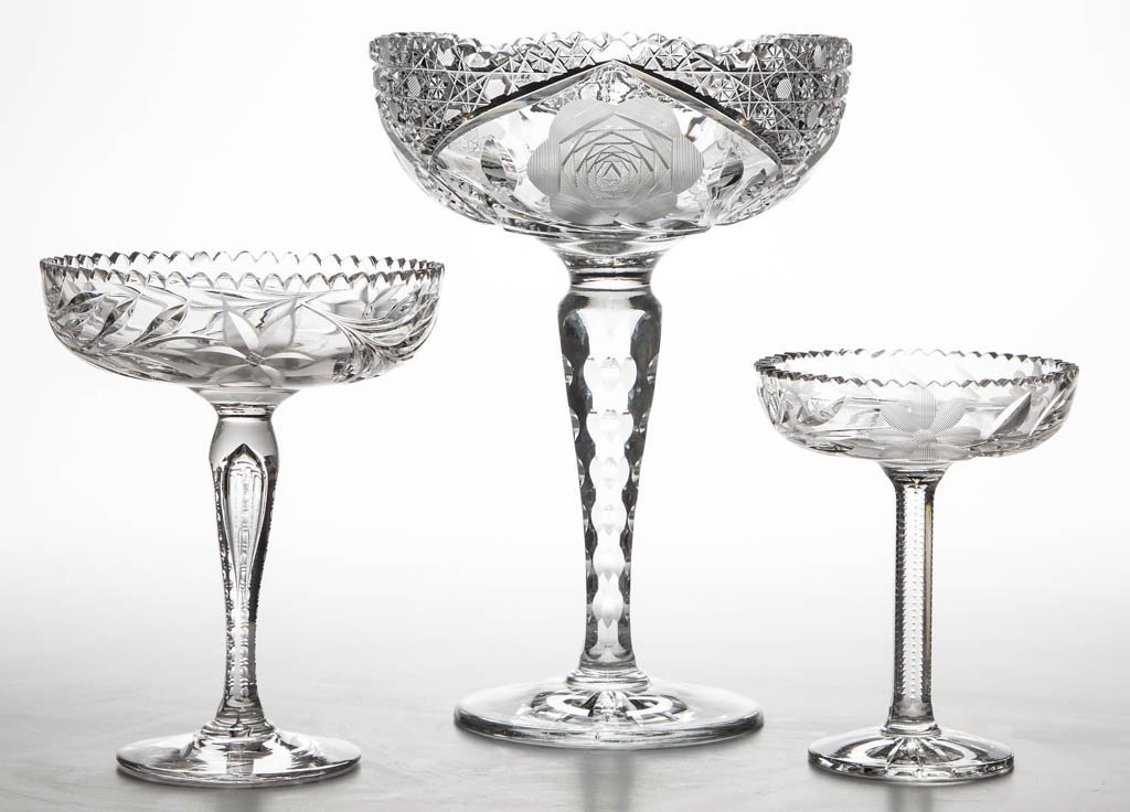 AMERICAN FLORAL CUT GLASS COMPORTS, LOT OF THREE