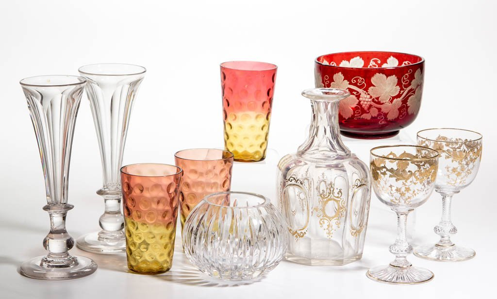 ASSORTED CUT AND OTHER GLASS ARTICLES, LOT OF TEN