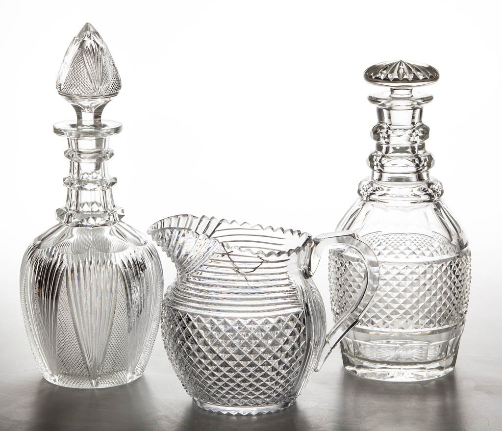 ASSORTED CUT GLASS ARTICLES, LOT OF THREE