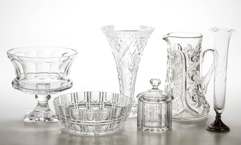 ASSORTED CUT AND OTHER GLASS ARTICLES, LOT OF SIX