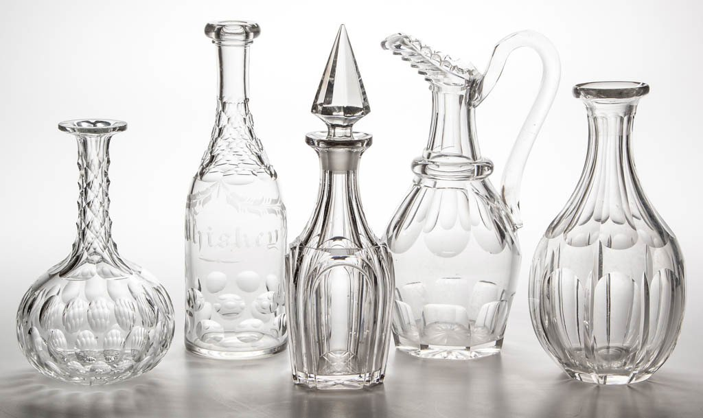 ASSORTED EARLY CUT GLASS DECANTERS, LOT OF FIVE