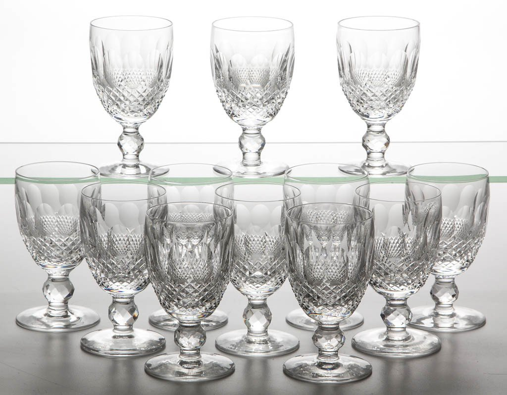 """WATERFORD """"COLLEEN"""" CRYSTAL WINE GLASSES, SET OF 12"""