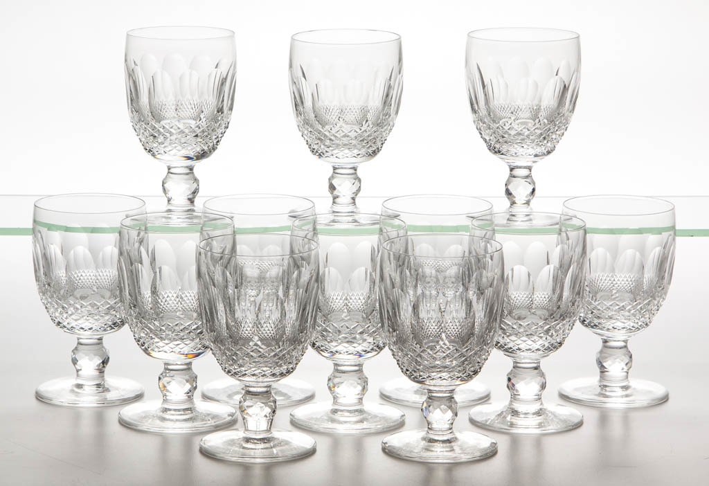 "WATERFORD ""COLLEEN"" CRYSTAL GOBLETS, LOT OF 12"