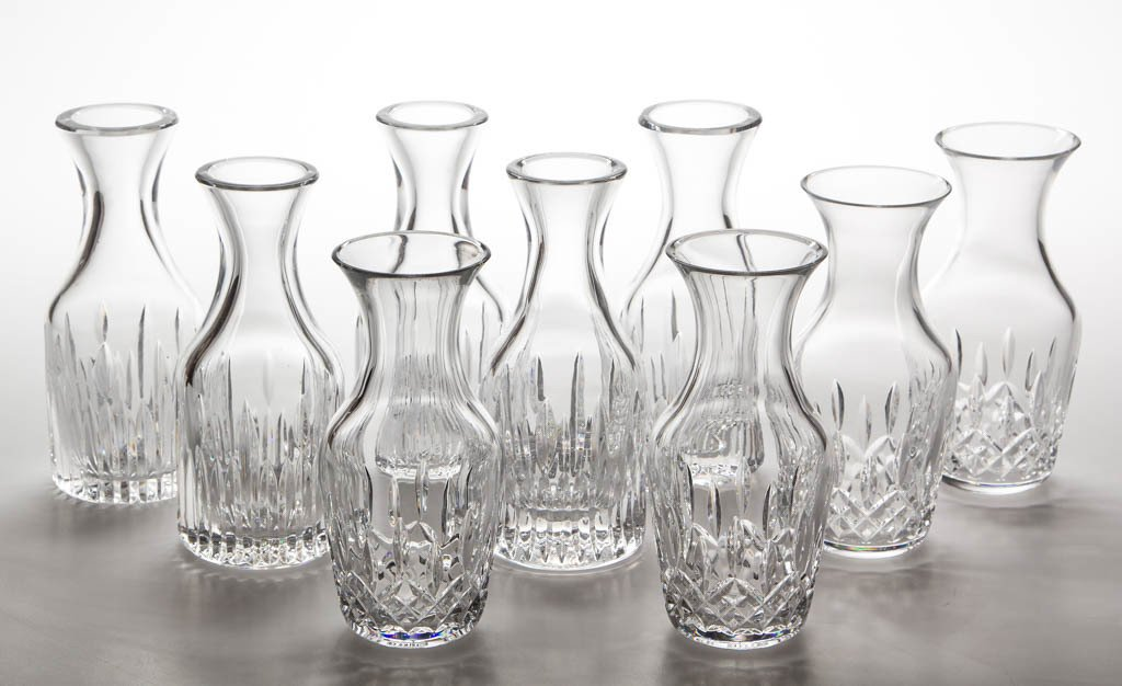 """WATERFORD """"LISMORE"""" CRYSTAL VASES / SMALL CARAFES, LOT"""