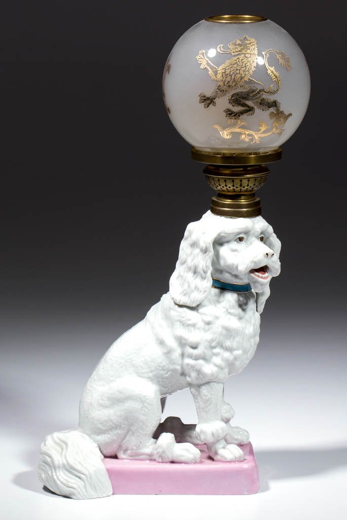 GERMAN ERNST BOHNE SOHNE PORCELAIN SEATED POODLE