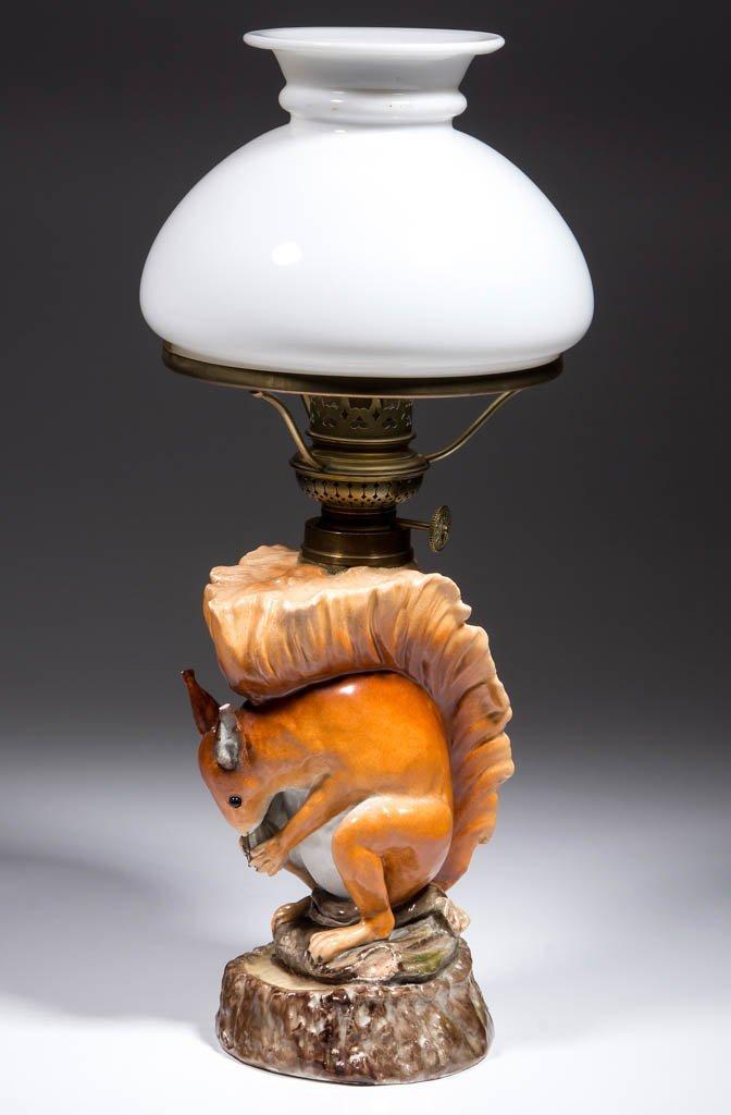 PORCELAIN SQUIRREL FIGURAL MINIATURE LAMP