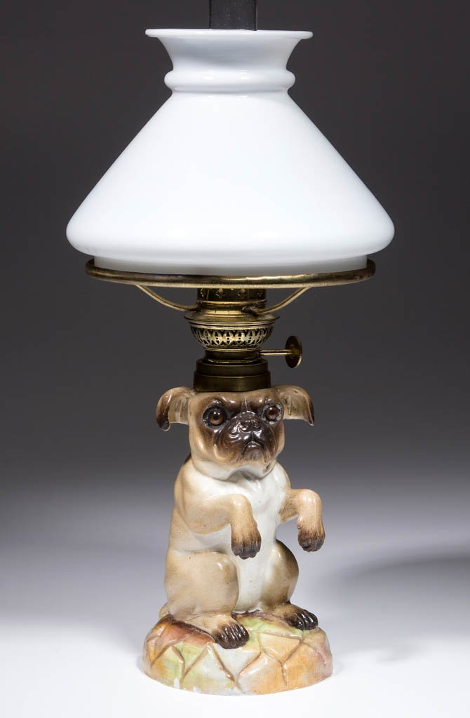 PORCELAIN PUG DOG FIGURAL MINIATURE LAMP