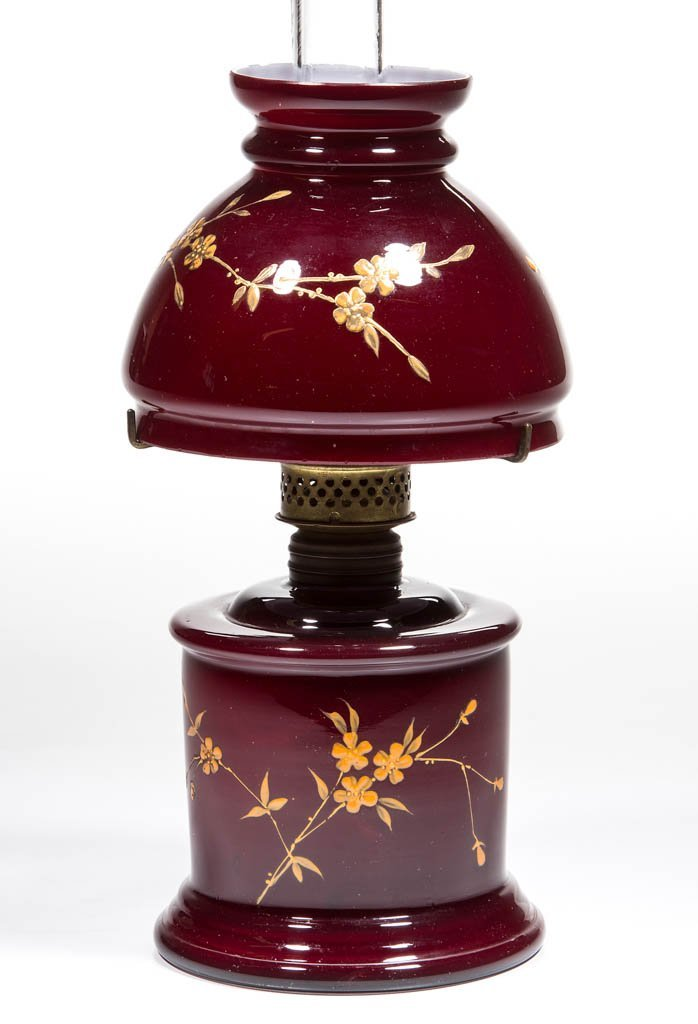 DECORATED CASED GLASS MINIATURE LAMP
