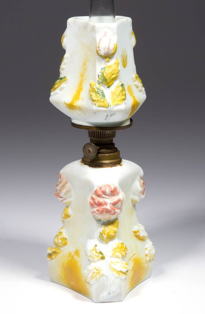BISQUE FLORAL EMBOSSED MINIATURE LAMP