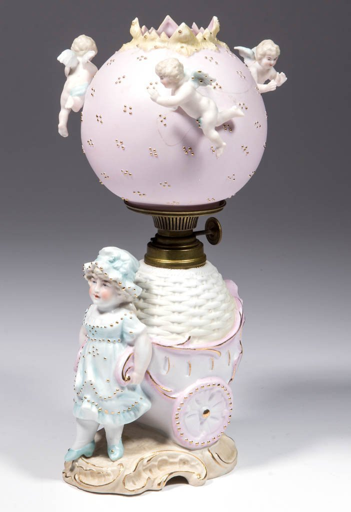 BISQUE GIRL WITH CART FIGURAL MINIATURE LAMP