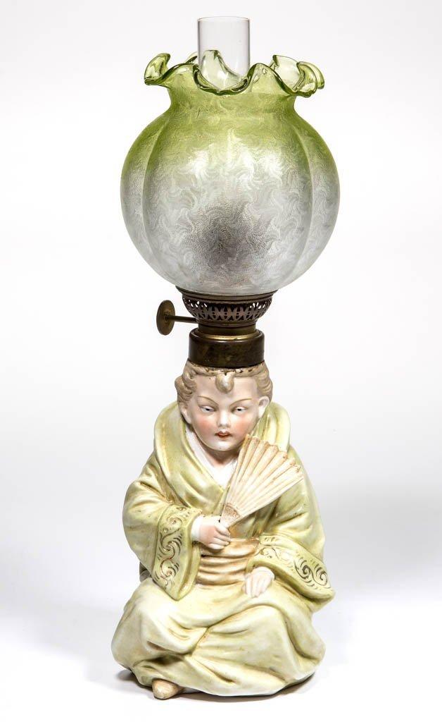 PORCELAIN ORIENTAL LADY FIGURAL MINIATURE LAMP