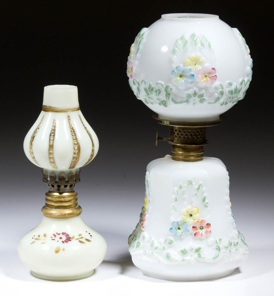 ASSORTED PATTERN MINIATURE LAMPS, LOT OF TWO
