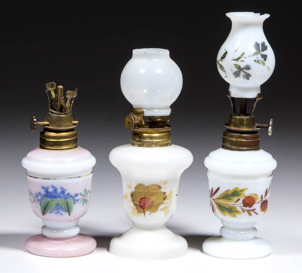 ASSORTED DECORATED OPAQUE GLASS MINIATURE LAMPS, LOT OF