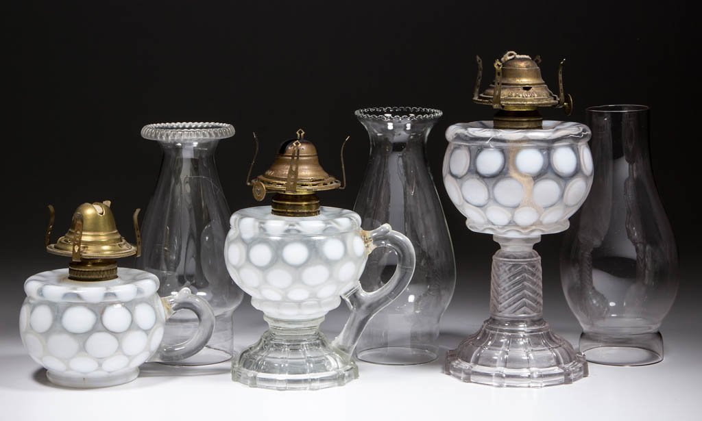 ASSORTED COINSPOT KEROSENE LAMPS, LOT OF THREE