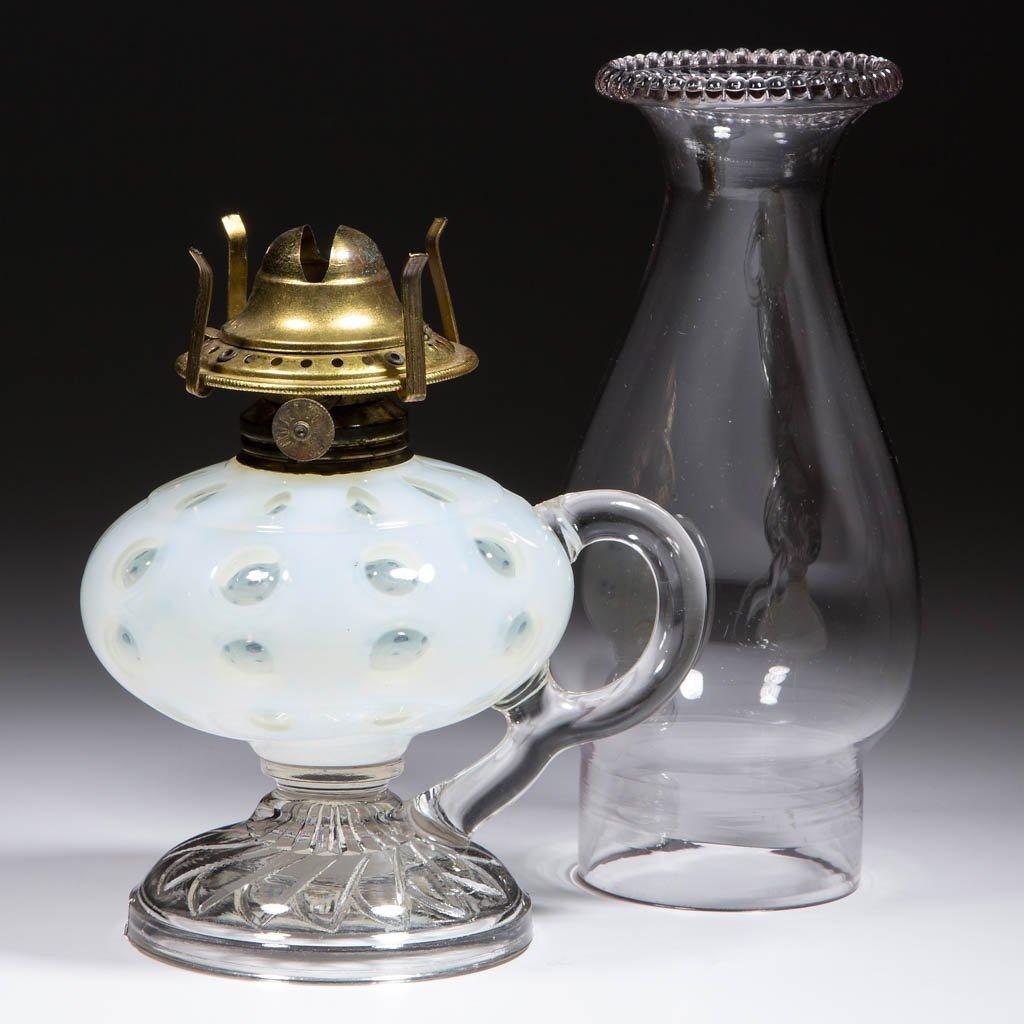 POLKA DOT KEROSENE FOOTED FINGER LAMP