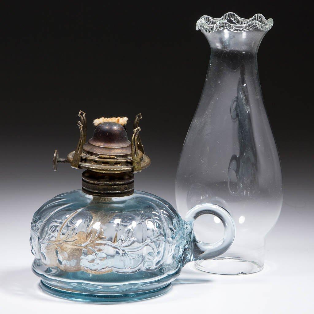 SWIRLED SEGMENTS AND VINE KEROSENE FINGER LAMP