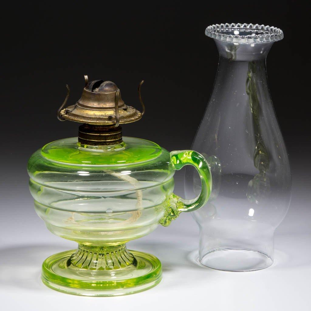 VASELINE BLOWN-MOLDED BEEHIVE-TYPE KEROSENE FINGER LAMP