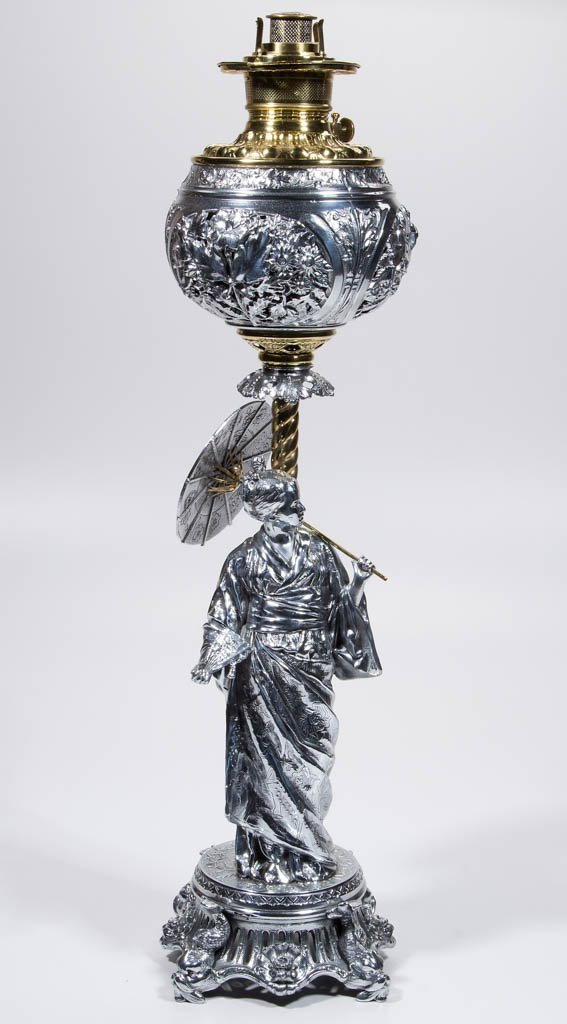 N. MULLER & SONS GEISHA FIGURAL KEROSENE BANQUET LAMP - 2